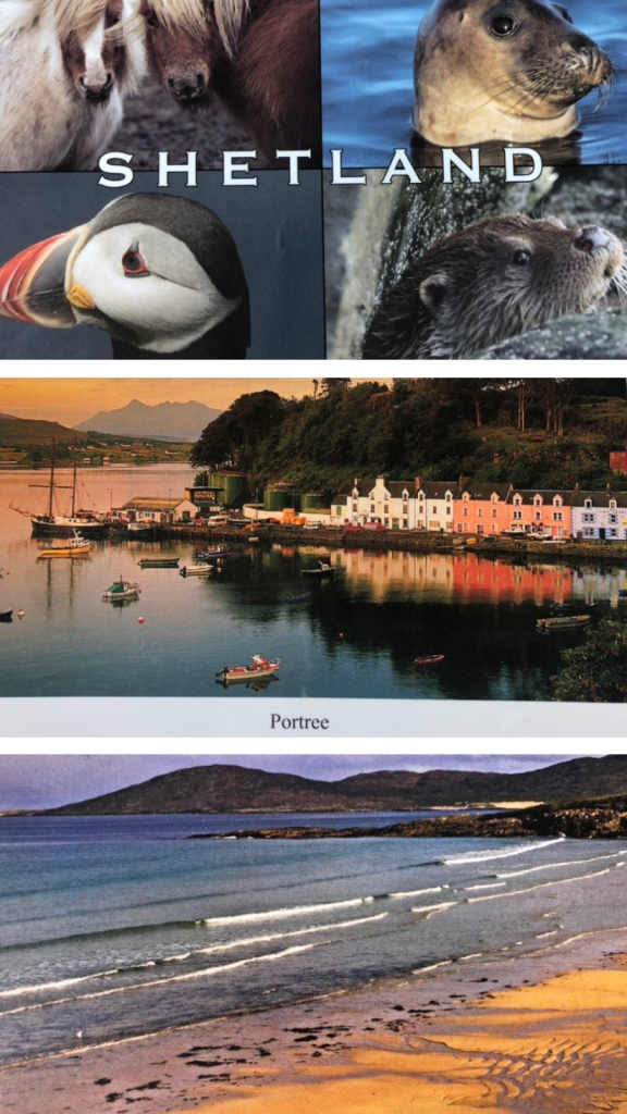 A selection of postcards from Shetland, Skye and The Hebrides